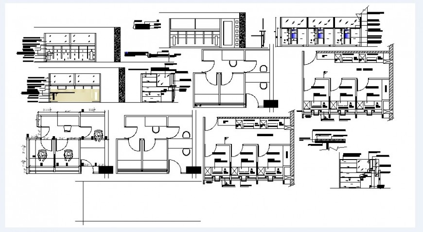 Bank office all sided elevation, section and floor plan drawing details dwg file