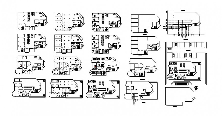 Bank office building departments layout plan cad drawing details dwg file