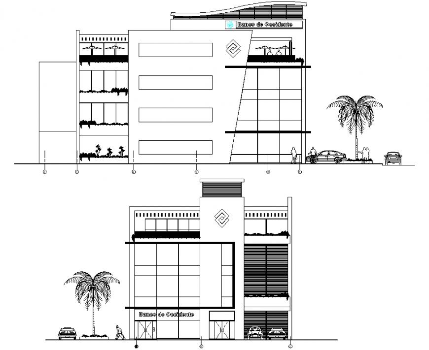 Bank office building elevation detail dwg file