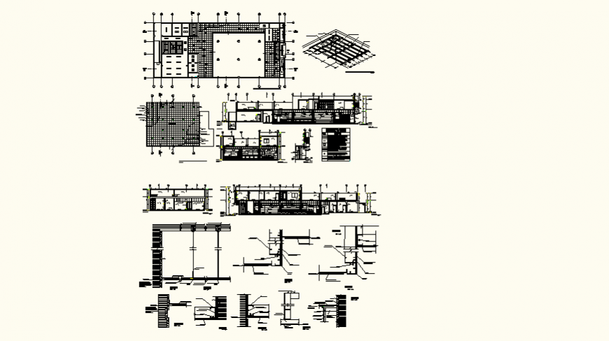 Bank office detail plan and elevation layout file