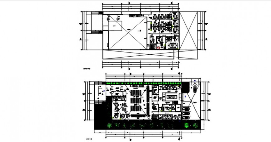 Banking agency two floors distribution plan cad drawing details dwg file