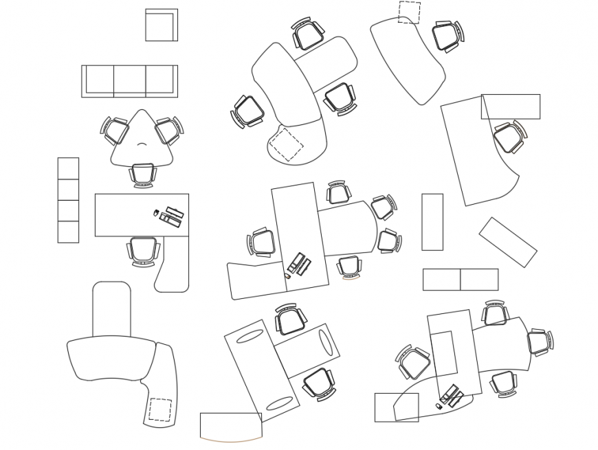 Banking Furniture Block View deign Drawing file