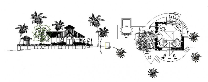 Bar area in tourist resort elevation and distribution plan cad drawing details dwg file