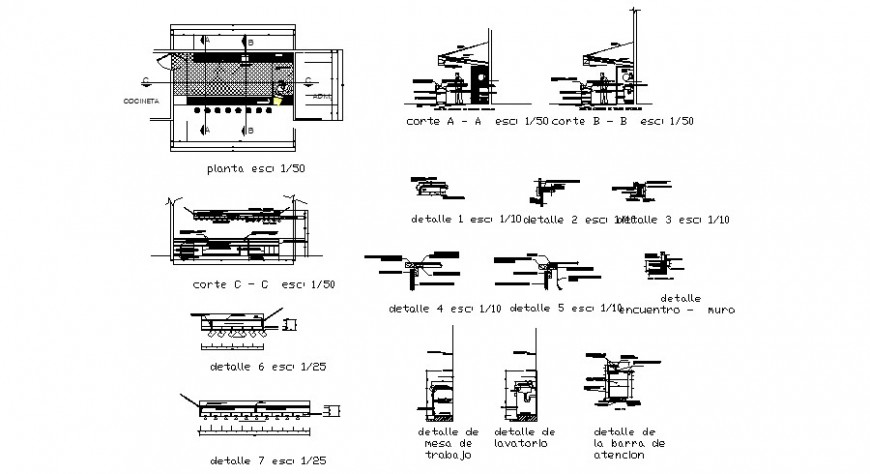 Bar at restaurant-section, plan and constructive details dwg file