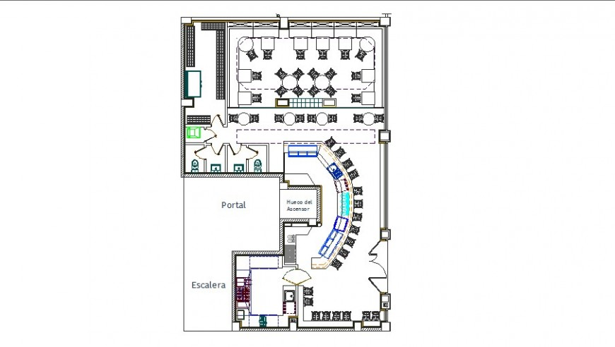 Bar restaurant top view layout plan cad drawing details dwg file
