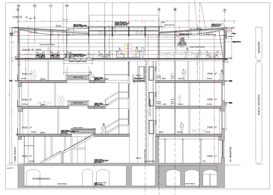 Bar terrace working section plan autocad file