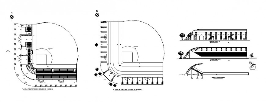 Base ball stadium elevation, section and plan cad drawing details dwg file
