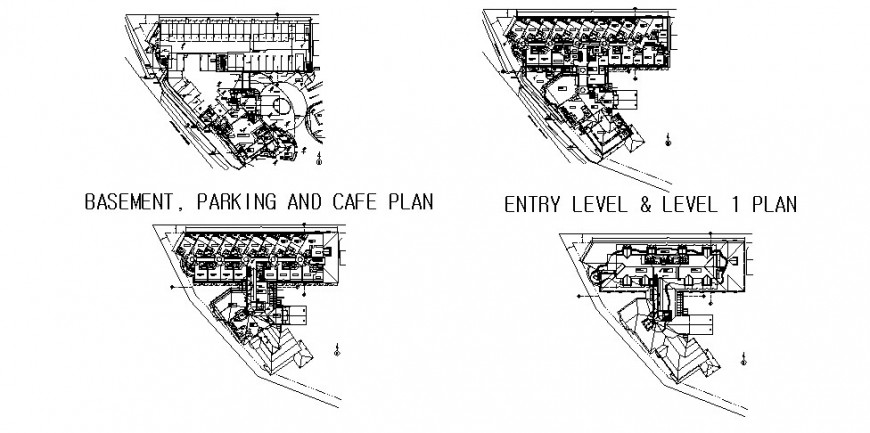 Basement, first, second and third floor plan details of cottage hotel cad drawing details dwg file