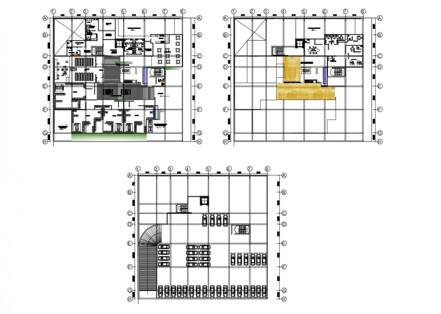 Basement, first and second floor distribution plan details of office building dwg file