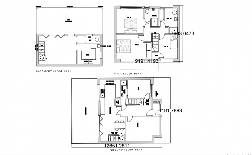 Basement, ground and first floor plan details of house dwg file