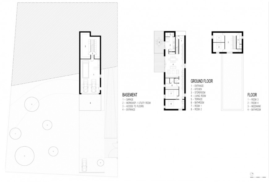 Basement, ground and first floor plan details of residential house dwg file