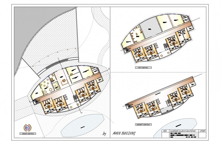 Basement, ground and first floor plan details of resort building dwg file