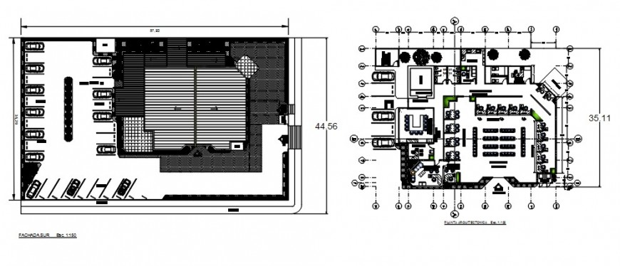 Basement and distribution plan drawing details of bank building dwg file