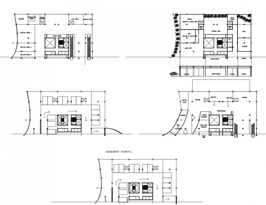 Basement and floor plan distribution details of corporate building tower dwg file