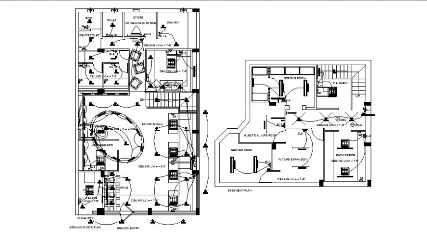 Basement and ground floor plan with electrical layout plan of bank office building dwg file