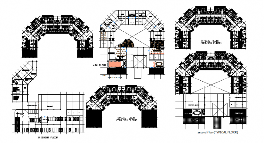 Basement and sixth floor commercial office plan detail dwg file