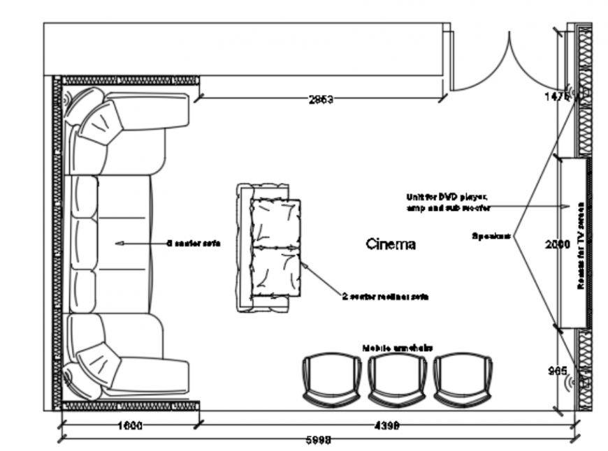 Basement cinema design top view plan