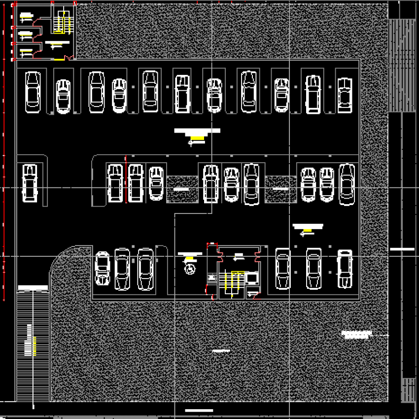 Basement floor layout plan with parking lot of corporate building dwg file
