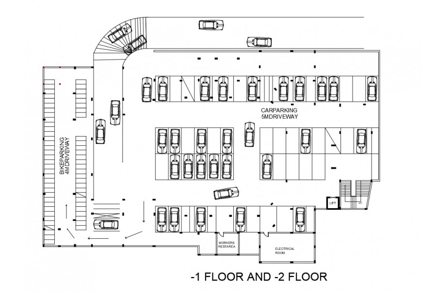Basement floor parking lot floor plan of civic center dwg file