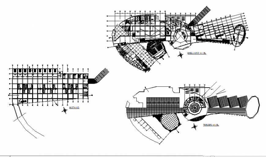 Basement parking, second and terrace floor plan details of radio center office building dwg file
