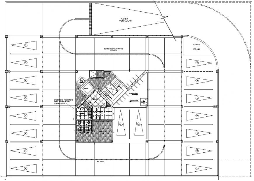 Basement parking commercial building plan layout file