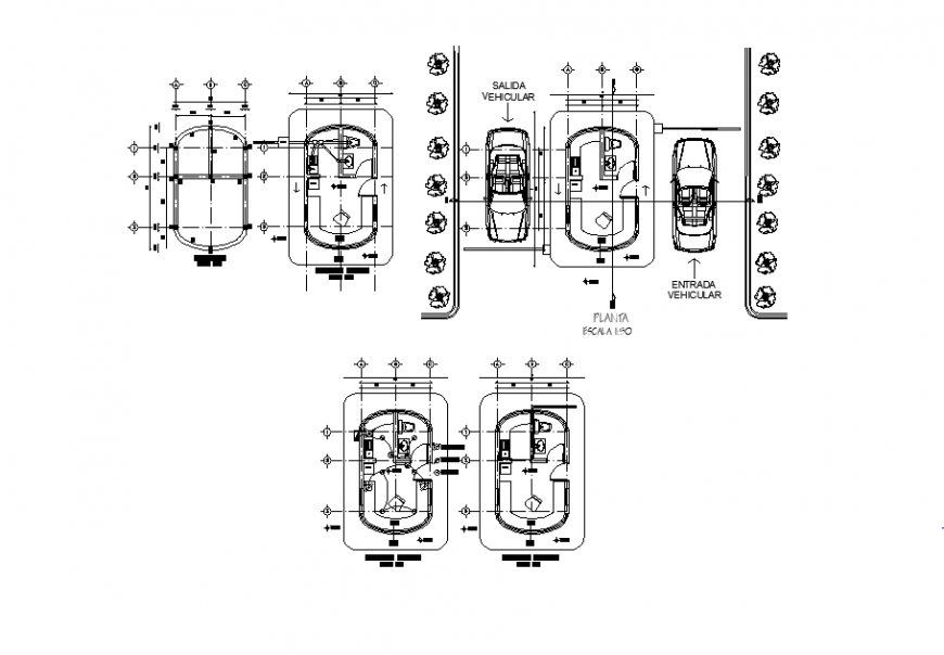 Basement parking elevation detail layout 2d view projection layout file