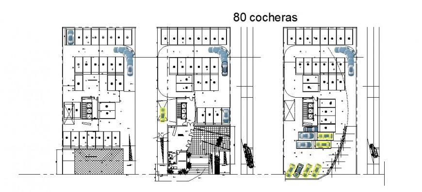 Basement parking floor distribution details of flat blocks dwg file