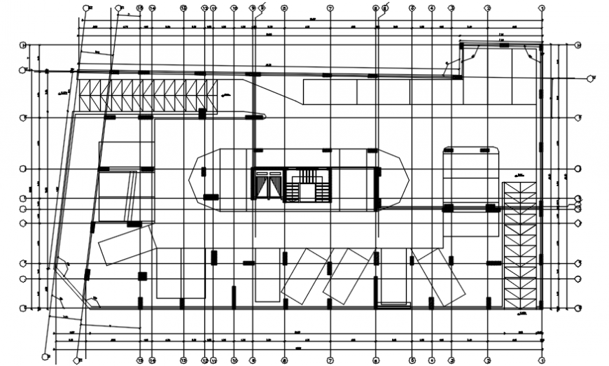 Basement parking floor layout plan drawing details of apartment building dwg file