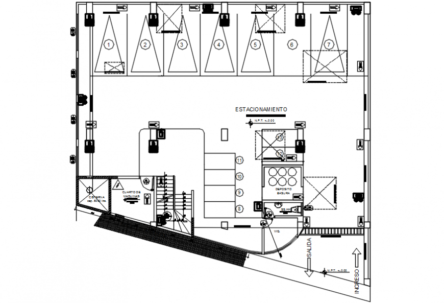 Basement parking floor plan details of apartment building dwg file