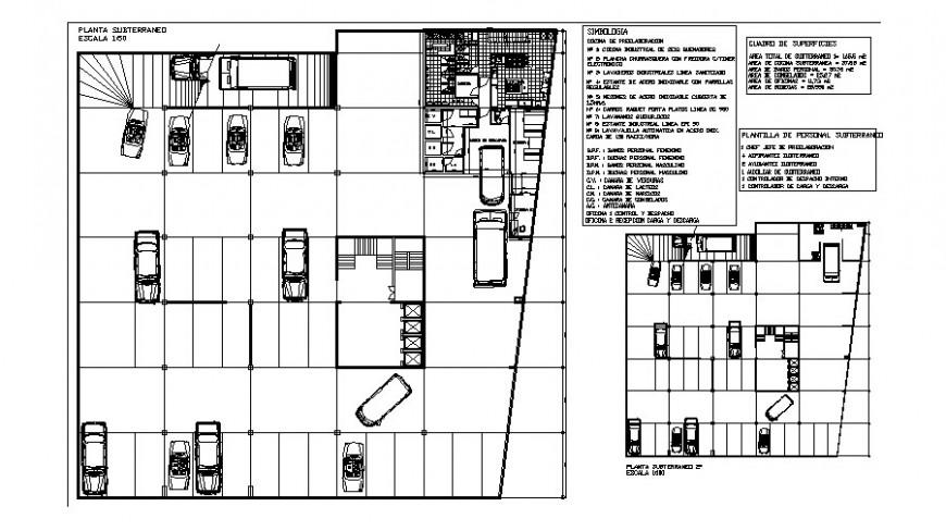 Basement parking system detail 2d view layout autocad file