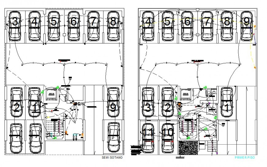 Basement parking system electrical fitting block detail 2d view layout file in autocad format