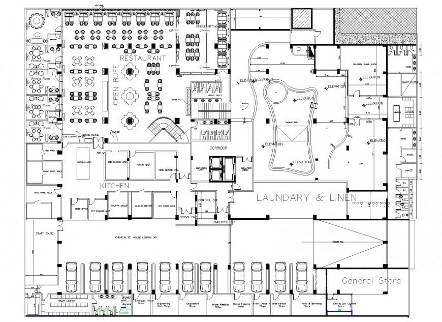 Basement restaurant planning detail dwg file