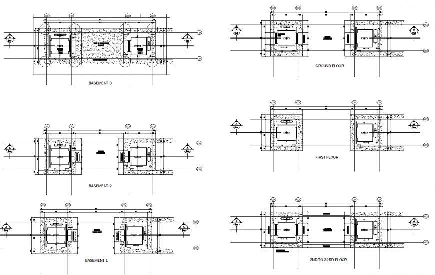 Basement to 22 rd floor lift plan layout file
