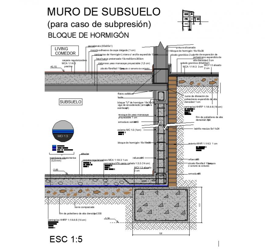 Basement wall detail elevation 3d model layout file