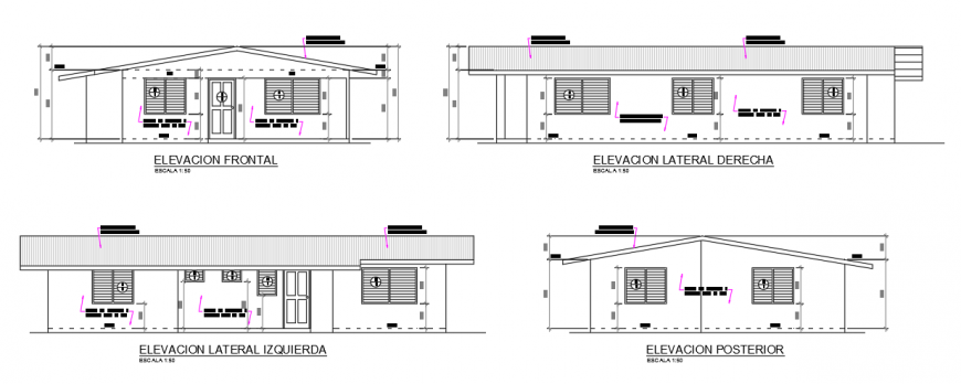 Basic Elevation design drawing of preliminary housing design drawing