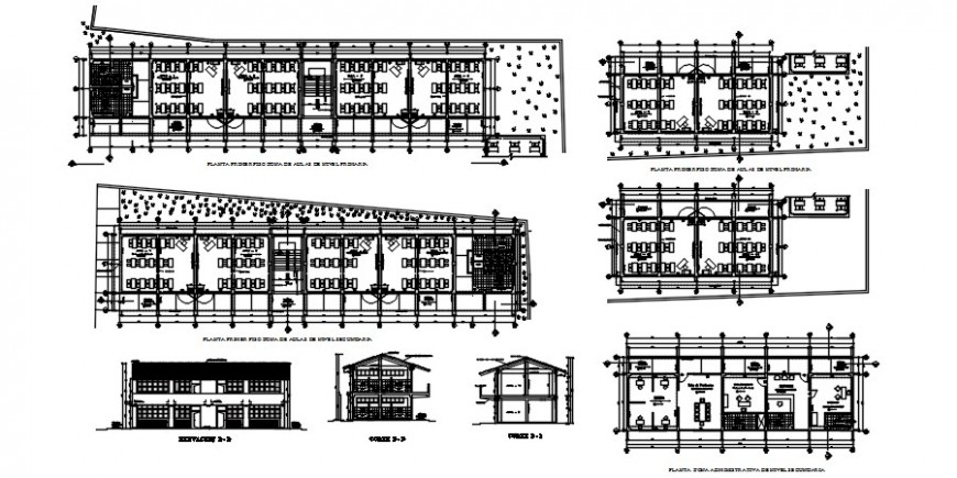 Basic school building all sided elevations and sections drawing details dwg file
