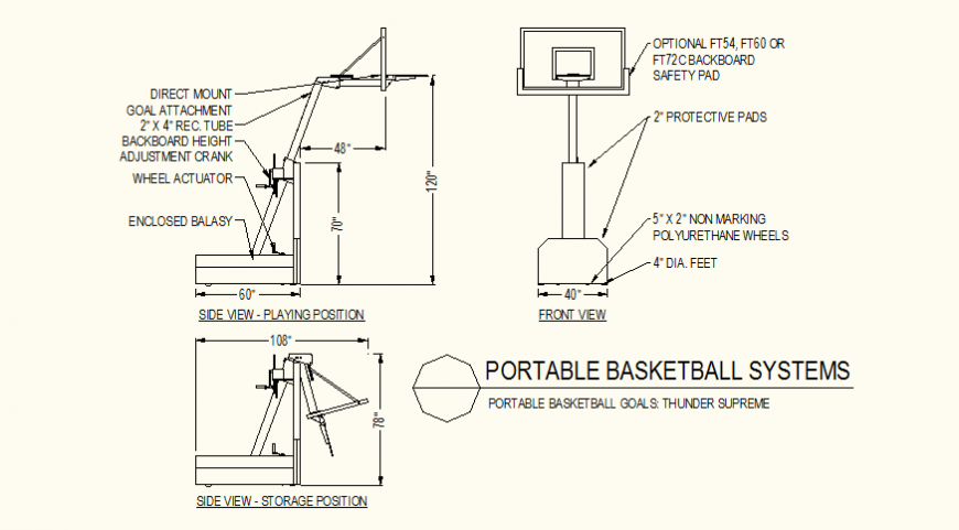 Basket-ball goal detail plan detail autocad file