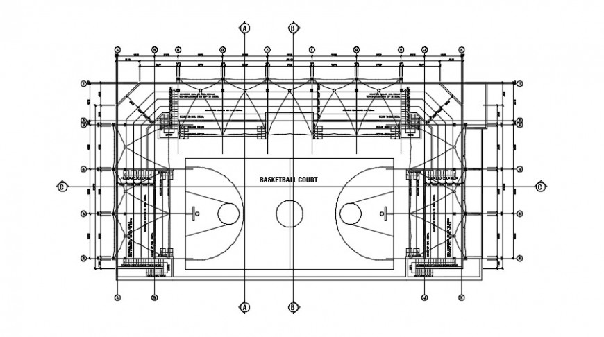 Basket ball court plan detail dwg file