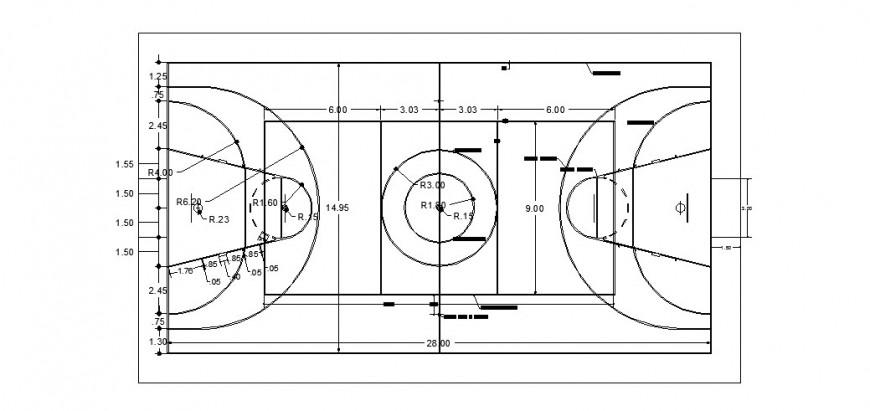 Basket ball field detail plan in dwg AutoCAd file.