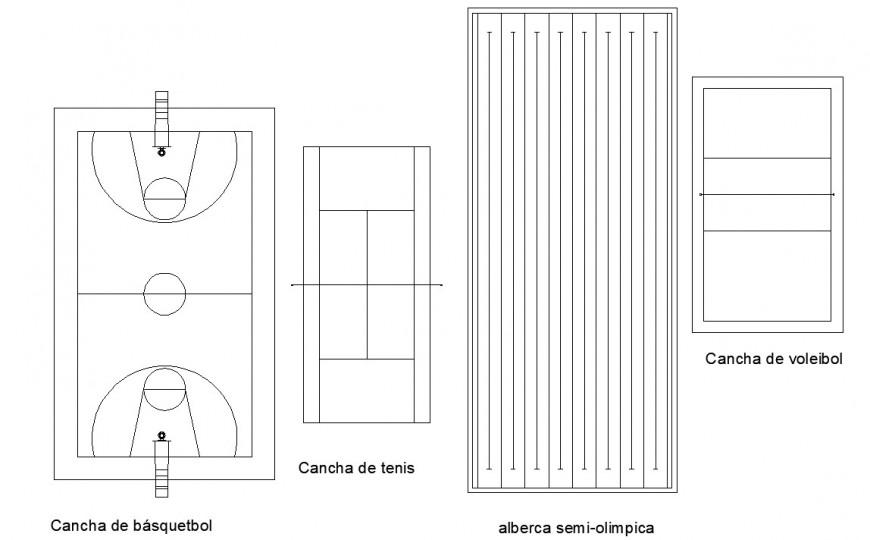 Basket ball field plan detail in dwg AutoCAD file.
