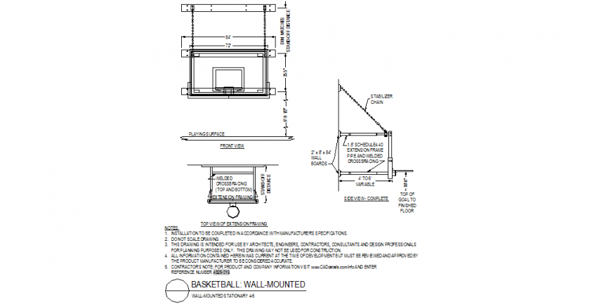 Basket Ball mounted detail plan and elevation dwg file
