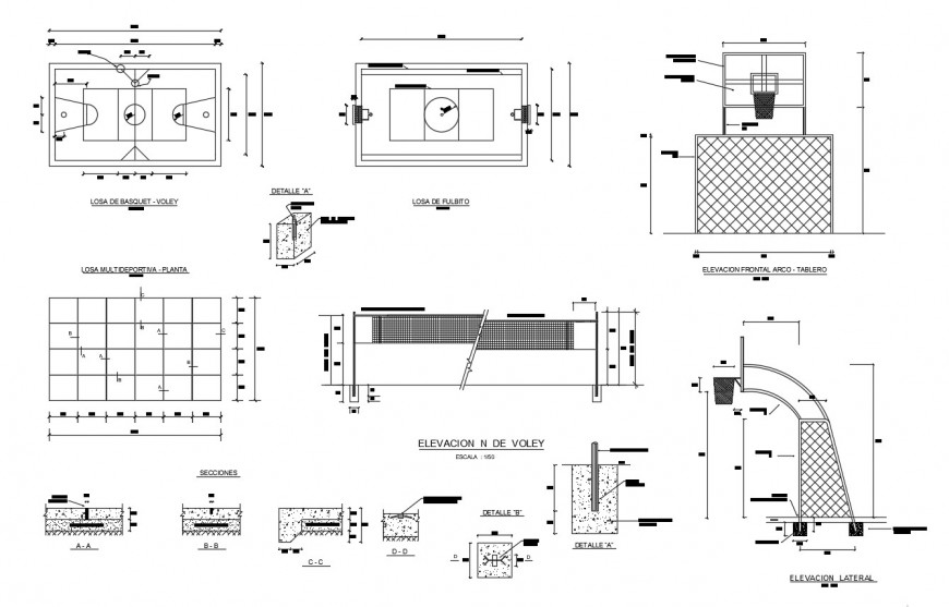 Basket ball playing area with its board and detail in auto cad
