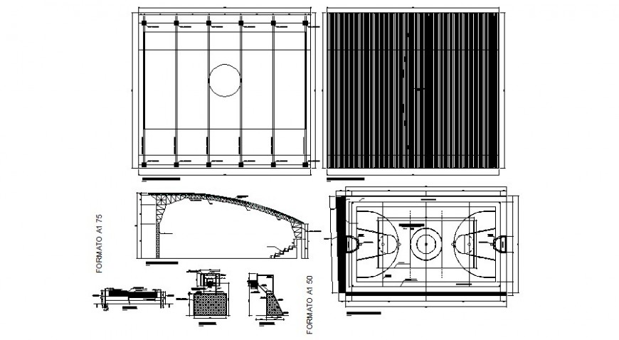 Basketball ball court ground and different elevation in autocad