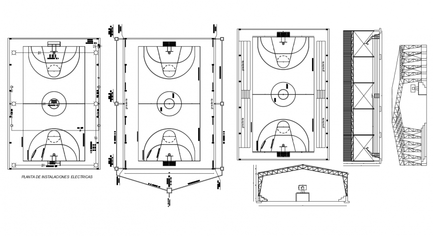 Basketball court ground detail 2d view layout plan autocad file