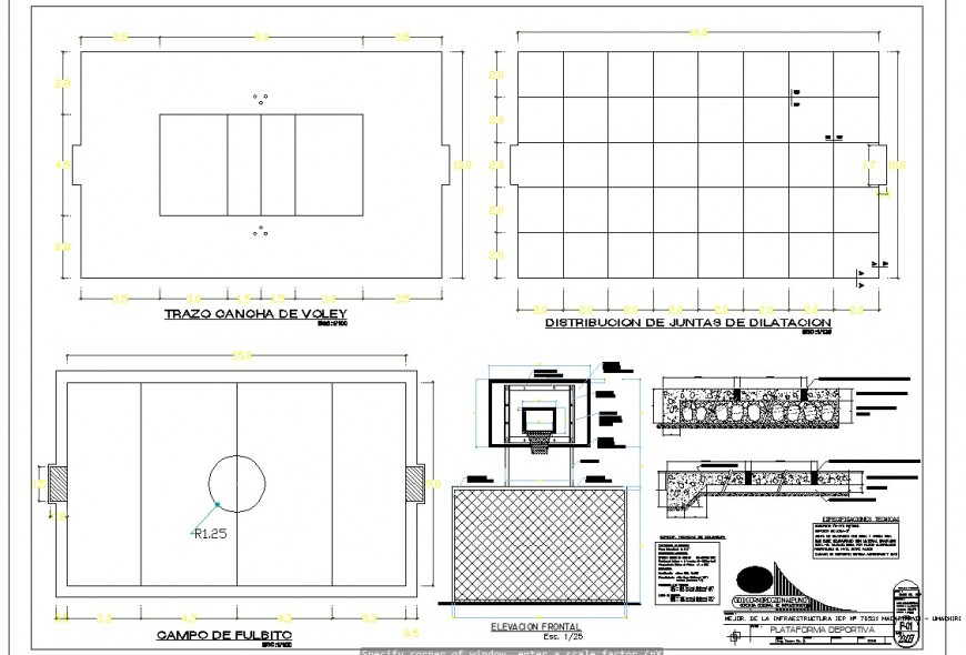 Basketball game ground detail plan and elevation 2d view CAD block layout dwg file