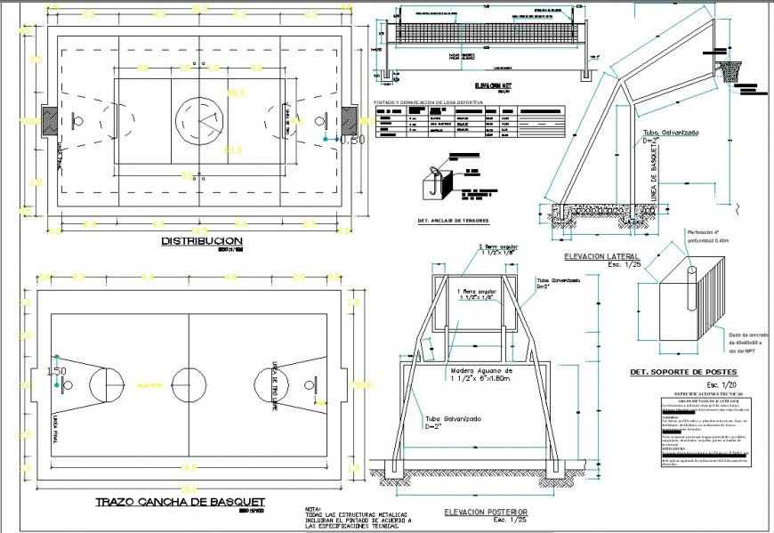 Basketball game ground plan and elevation 2d view detail autocad file