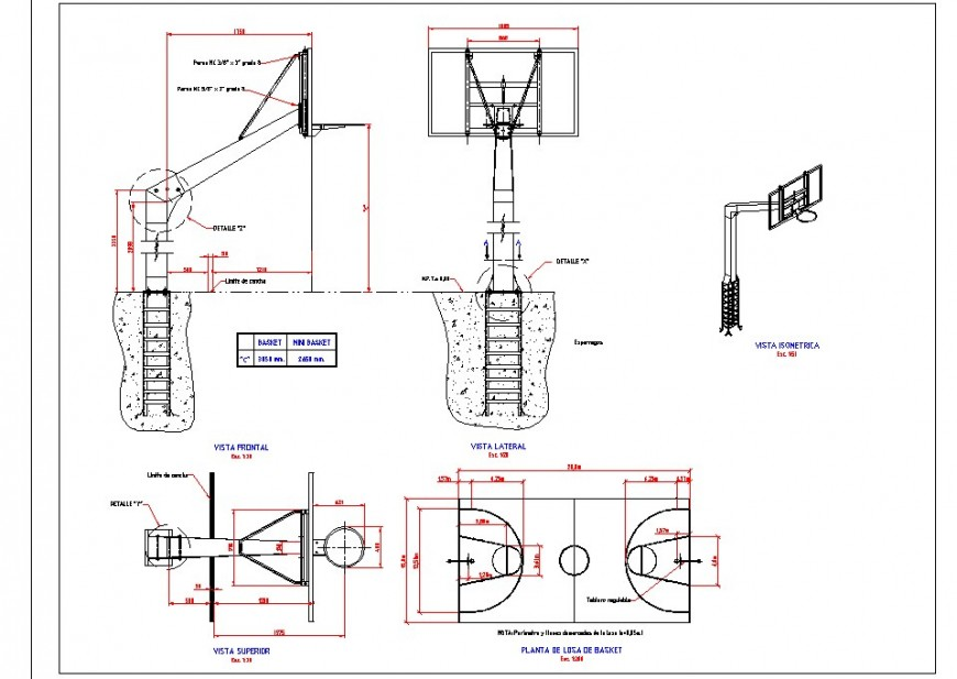 Basketball ground detail 2d view layout plan and elevation autocad file