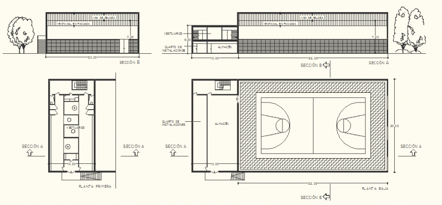 Basketball ground detail drawing in dwg AutoCAD file.