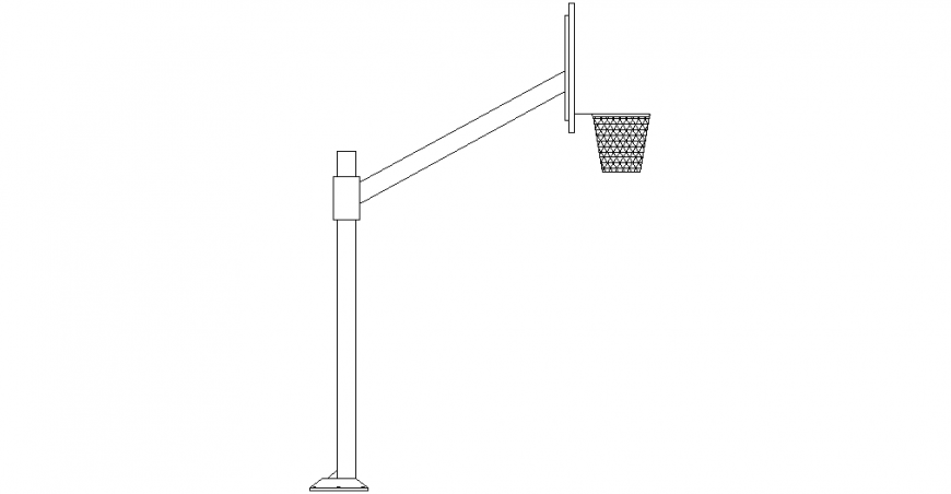 Basketball with a net design with the side view dwg file