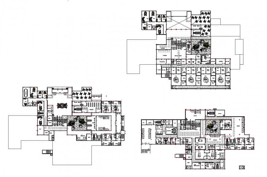 Bassel hospital multi-story floor plan distribution cad drawing details dwg file